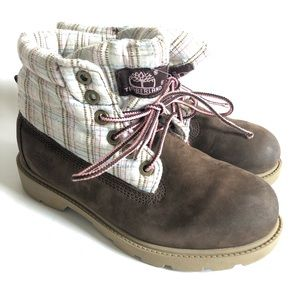 Timberland brown fold down boots pink blue plaid